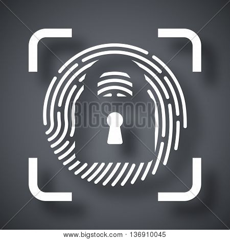 Vector Fingerprint Scanner Locked Icon. Fingerprint Scanner Locked Simple Icon On A Dark Gray Backgr