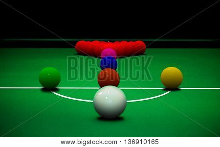 Image of snooker ball game setting on table
