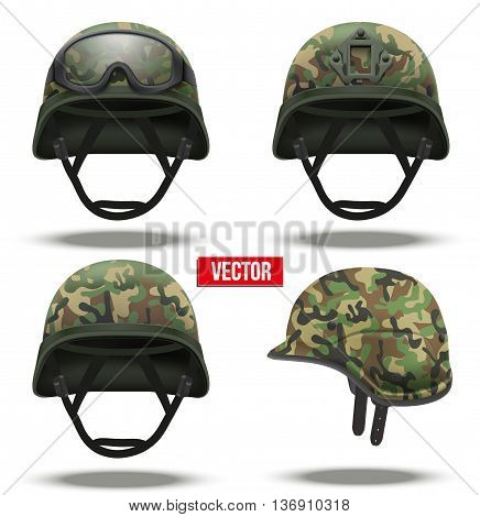 Set of Military tactical helmets of rapid reaction. camouflage color. Army and police symbol of defense. Vector illustration Isolated on white background. Editable.