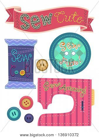 Typography Illustration Featuring the Word Sew