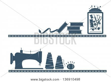 Stencil Illustration Featuring Different Sewing Tools