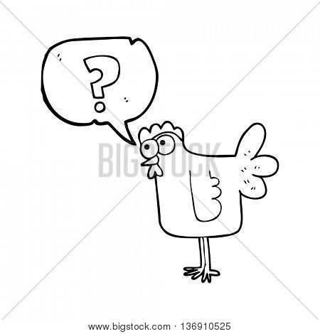 freehand drawn speech bubble cartoon confused chicken