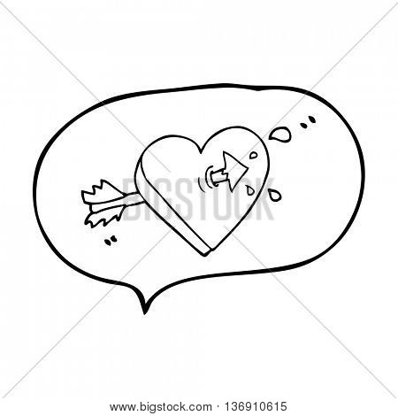 freehand drawn speech bubble cartoon arrow through heart freehand drawn speech bubble cartoon