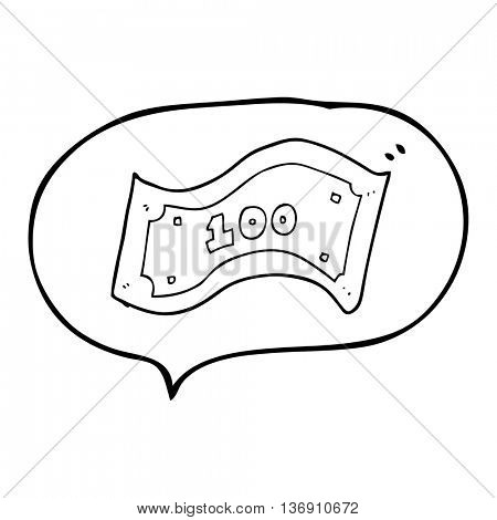freehand drawn speech bubble cartoon 100 dollar bill