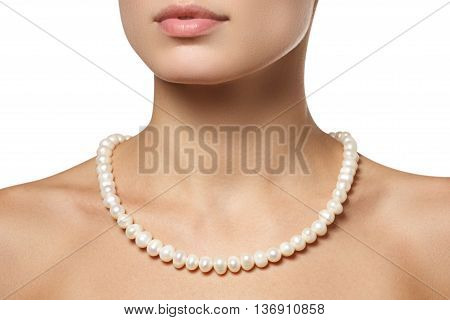 Beautiful Fashion Pearls Necklace On The Neck