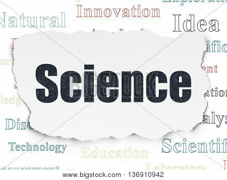 Science concept: Painted black text Science on Torn Paper background with  Tag Cloud
