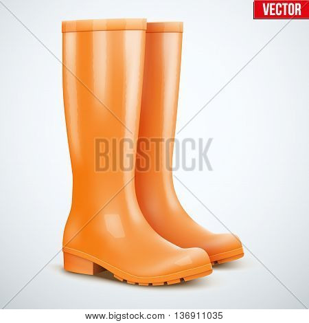 Pair of orange rubber rain boots. Symbol of garden wok or autumn and weather. Vector illustration Isolated on white background.