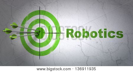 Success Science concept: arrows hitting the center of target, Green Robotics on wall background, 3D rendering