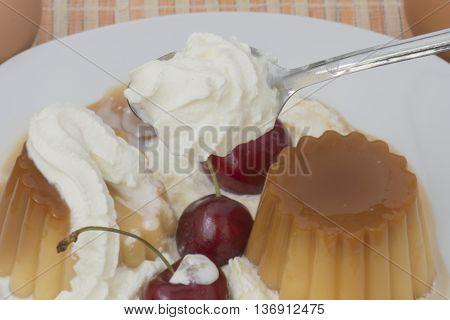 vanilla custard with cream and cherries,vanilla pudding with caramel for breakfast
