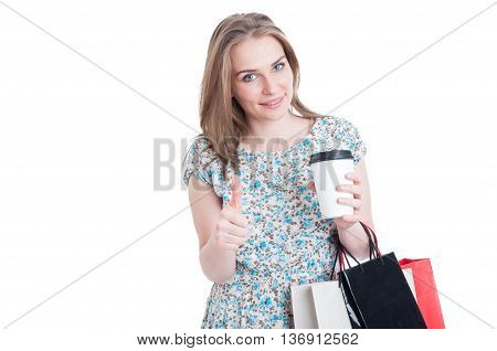 Shopper With Coffee And Bags Showing Like Sign