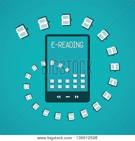 E-reader gadget vector concept in flat style.