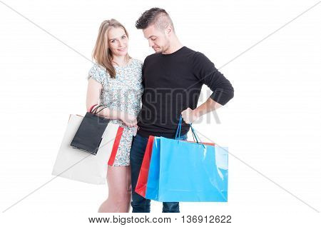 Beautiful Couple At Shopping Paying With Debit Card