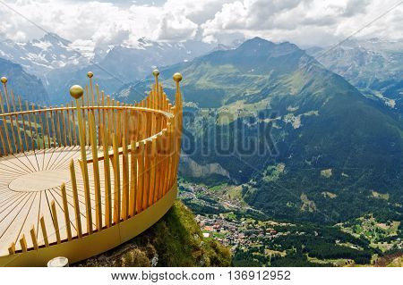 Observation deck on lookout, viewpoint in Alps mountains, Switzerland