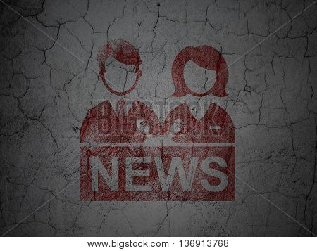News concept: Red Anchorman on grunge textured concrete wall background