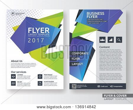 Multipurpose corporate business flyer layout design. Suitable for flyer brochure book cover and annual report. green and purple color in A4 size template background with bleeds. Vector illustration