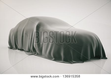 Car covered with grey veil on light background. 3D Rendering