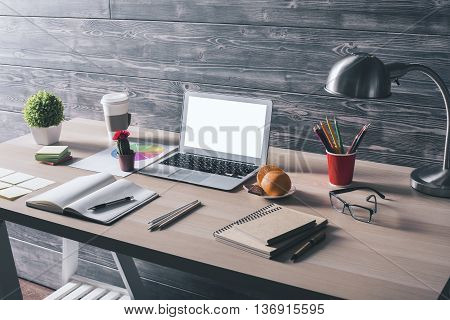 Desktop With White Laptop Side