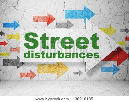 Politics concept:  arrow with Street Disturbances on grunge textured concrete wall background, 3D rendering