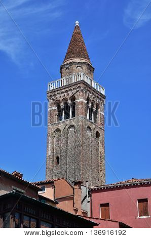 San Polo typical conical belfry in Venice