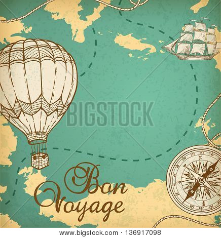 Vintage vector map with sailing vessel and balloon air.