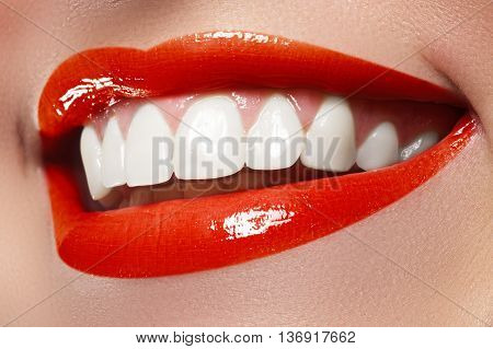 Woman Smile. Teeth Whitening. Dental Care