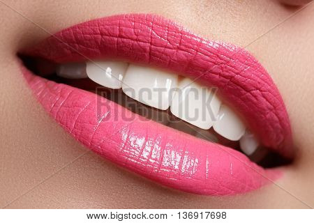 Woman Smile. Teeth Whitening. Dental Care