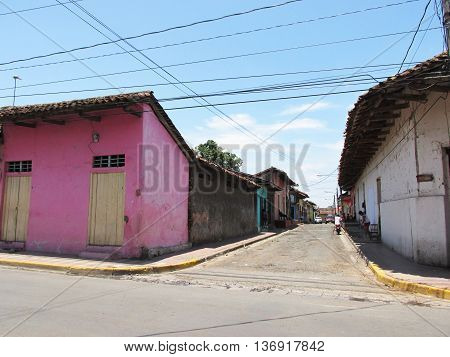 Old street in Granada, Nicaragua, Central America