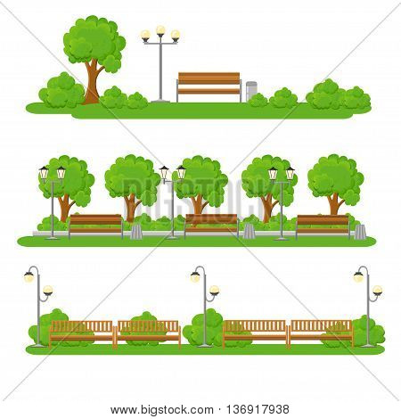 City elements outdoor and scenes flat set. Urban decor parks and alleys streets and sidewalks tree and seating area illustration
