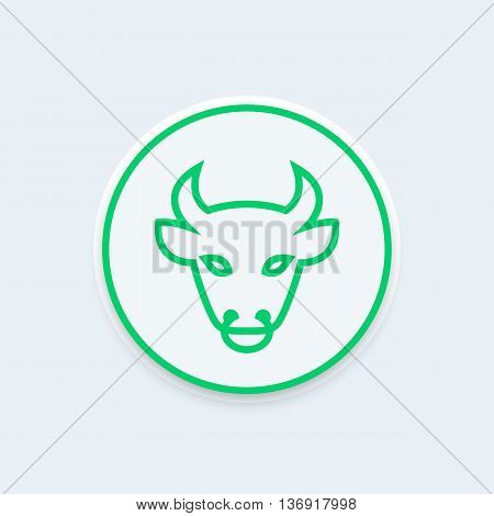 bull head line icon ox head outline vector illustration