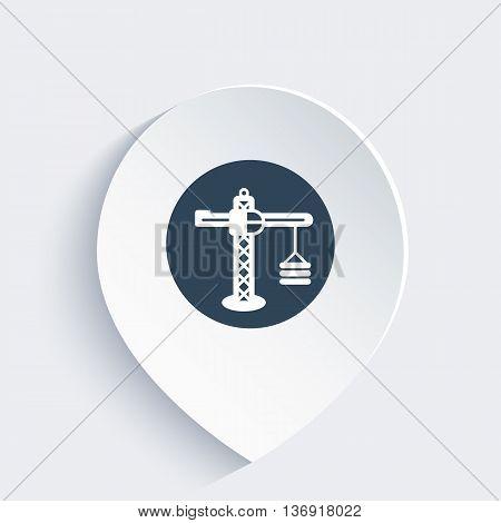 construction crane icon on mark vector illustration