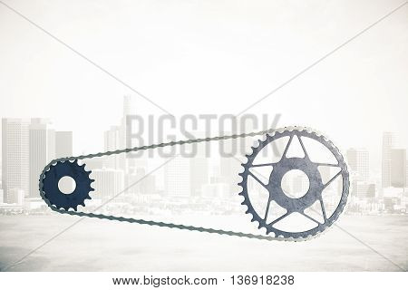 Bicycle gearing on abstract foggy city background. 3D Rendering