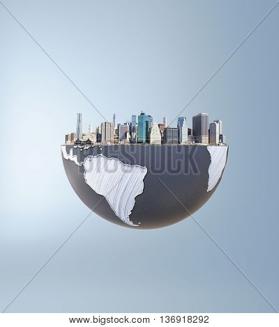 Urbanization concept with globe and city on grey background. 3D Rendering.