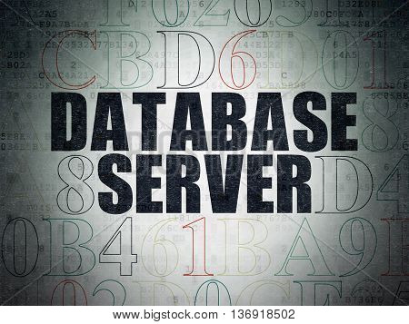 Software concept: Painted black text Database Server on Digital Data Paper background with Hexadecimal Code
