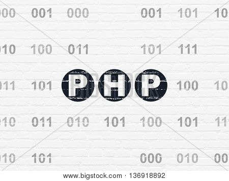 Database concept: Painted black text Php on White Brick wall background with Binary Code