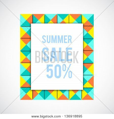 Vector summer sale background. Sale colorful frame. Geometry frame. Blue abstract frame. Summer shopping. Market background.