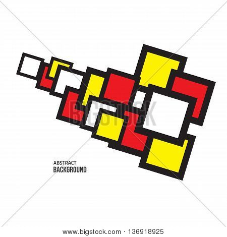 Vector  red yellow abstract. Vector minimal style background. Modern geometric shape. Minimal fashion background. Colorful square