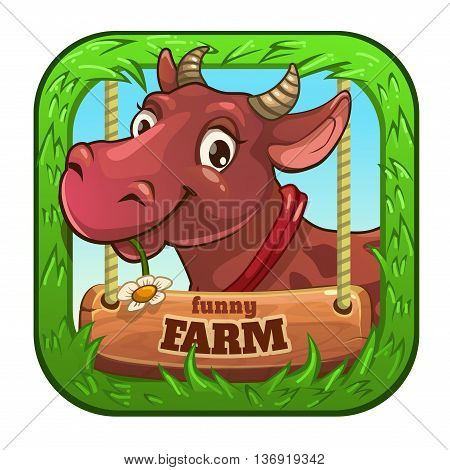 Funny vector app icon with cute cartoon cow, game asset for gui design, application store element