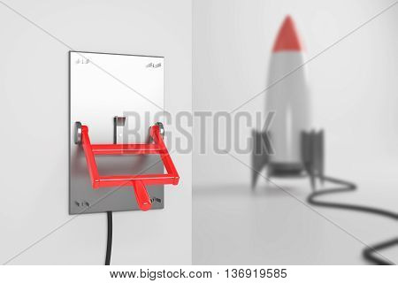 Startup concept with abstract blurry rocket ship connected to turned down lever switch on white background. 3D Rendering