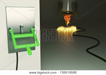 Startup concept with abstract launching rocket ship connected to green lever switch on dark grey background. 3D Rendering