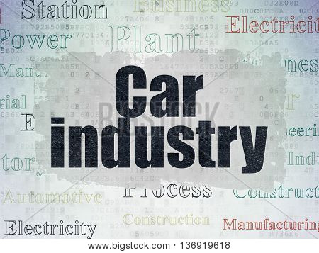 Manufacuring concept: Painted black text Car Industry on Digital Data Paper background with   Tag Cloud