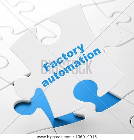 Manufacuring concept: Factory Automation on White puzzle pieces background, 3D rendering