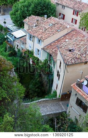 view of Moustiers-Sainte-Marie from above, provencal typical small town in Provence, France