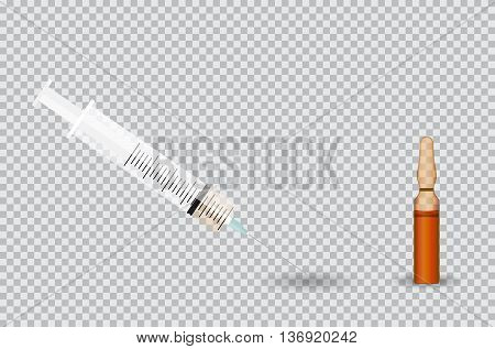 Syringe with Transparent ampoule with substance on transparent background. Vector Illustration. EPS10