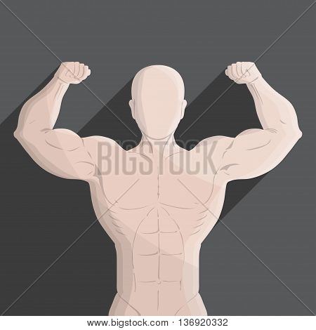 male muscle gym grey illustration for sport, gym and education use.
