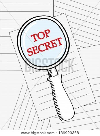 Vector illustration of a magnifying glass looking at the words Top Secret in red text on a pile of documents