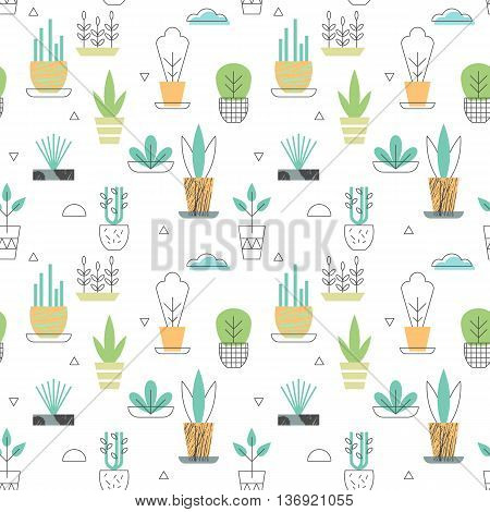 Flowerpot seamless pattern with plants and cloud icons