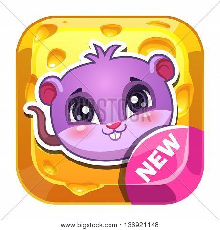 Funny vector app icon with cute little cartoon mouse on cheese background, game asset for gui design