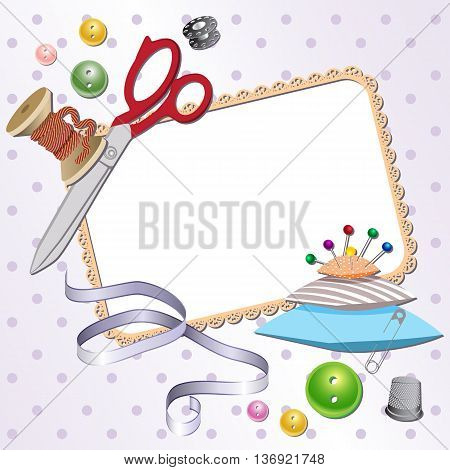 Frame with scissors a pillow a pin buttons threads. Vector illustration