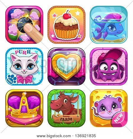 Funny cartoon kids games elements, app icons set, vector application store assets