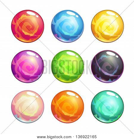 Vector colorful glassy magic balls set, isolated on white background, cartoon fantasy game assets